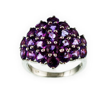 Genuine Amethyst Sterling Silver Band Ring