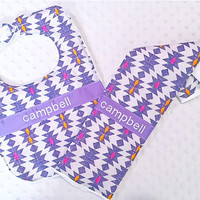 Personalized Bib and Burp Cloth Set with Bow - Baby Girl Lilac Purple Tangerine Orange Fuchsia Pink Aztec Southwest Herringbone