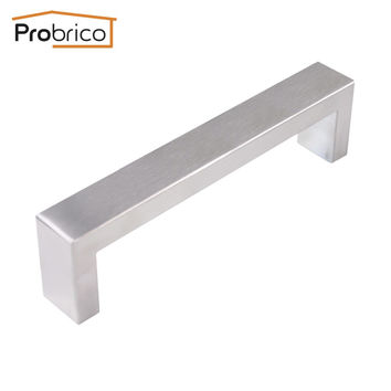 Probrico 10 Pcs 10Mm*20Mm Square Bar Handle Stainless Steel Hole Spacing 128Mm Cabinet Door Knob Drawer Pull Pddj30Hss128