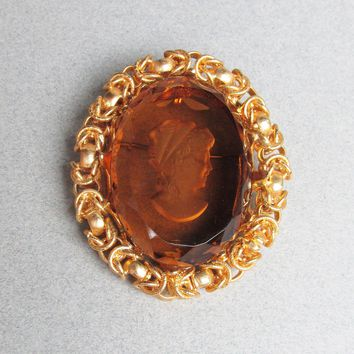 Vintage 1960's Extra Large Topaz Glass Intaglio Cameo CHUNKY Pendant or Brooch Pin