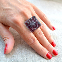 Halloween ring - dark purple ring - spider ring - adjustable ring - glass ring - halloween jewelry - fused glass - hand painted