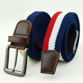 Mens Women Double layer Elastic Stretch Pin Buckle Belt Casual Weaving Golf Waistband