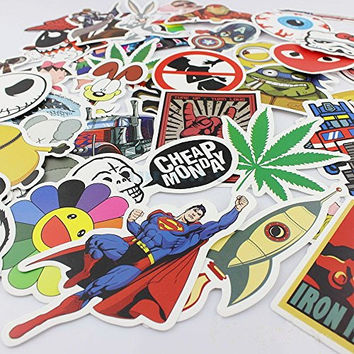 TTSAM 50PCS Random Stickers Skateboard Snowboard Vintage Vinyl Sticker Guitar Travel Case sticker lot pack decal Graffiti Laptop Luggage Car Bike Bicycle Decals mix Lot Pack Decal