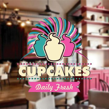 cik795 Full Color Wall decal Showcases cupcake baked food cafe snack shop