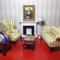 Framed Painting Monalisa, 1/12 Scale, Miniature Dollhouse
