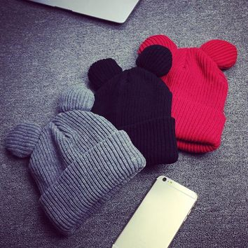 Autumn Winter Beanies Hat Unisex Knitted Wool Skullies Casual Cap with Mickey Ears Solid Colors Ski Gorros Bonnet