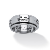 PalmBeach Cat Lady Spinner Ring in Black IP Stainless Steel Tailored | Overstock.com Shopping - The Best Deals on Stainless Steel Rings