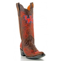 "Gameday Boots Womens 13"" Tall Leather University Of Houston Cowboy Boots"