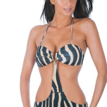 V - Collar Printed Swimsuit Digital Printing Siamese Swimming Swimsuits Dotted Back Swimwear B0016444