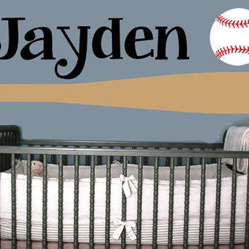 Baseball Bat Wall Decal with child's name and Baseball - Personalized Baseball Sticker