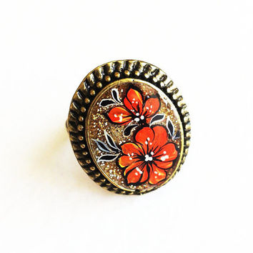 Hot Summer. Hand painted Ring orange yellow black white flowers Adjustable ring