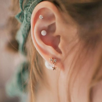 Sweet Big Pearl Stars Stud Earrings