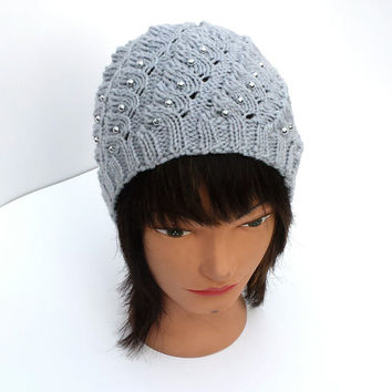 Grey knit hat, beautiful, cute beanie, decorated with silver beads, unique pattern, women's, girl's winter accessory.