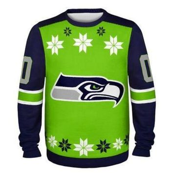 ICIKU3N Seattle Seahawks Official NFL Ugly Sweater - Choose Your Style!