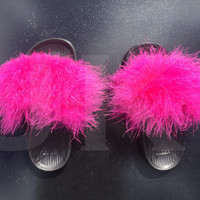 Womens Black Adidas Fur Slides customised with Black, White or Pink Fur.
