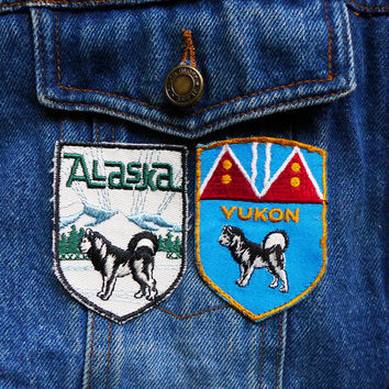 Vintage Husky Dog Patch, Yukon Patch for Jackets, Alaska State Patch, Old Patch with Dog, Vintage Animal Patch from the 70s