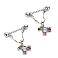 Vcmart 1 Pair 316L Surgical Steel Cherry Nipple Piercing Rings Bar 14G With Pink Rhinestone