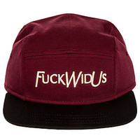 Crooks and Castles Hat Woven F.W.U. 5 Panel Cap in Burgundy