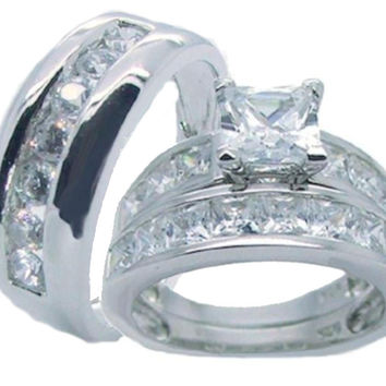 His Hers Sterling Silver Princess Cut Cz Wedding Ring Set
