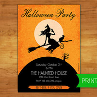 Halloween party invitation. Witch and her black cat  - Printable