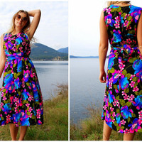 60's Floral Dress Vintage Hawaiian Botanical Party Dress MOD Day Glow / Neon Peony Flowers Purple Pink Blue Flower Power Maxi Wrap Dress