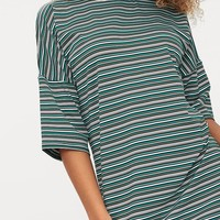 Emerald Green Stripe Oversized T Shirt Dress