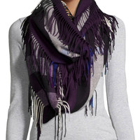 The Fringe Cashmere Half Mega Check Scarf, Black Currant, Size: ONE SIZE, BLACK CURRANT - Burberry Prorsum