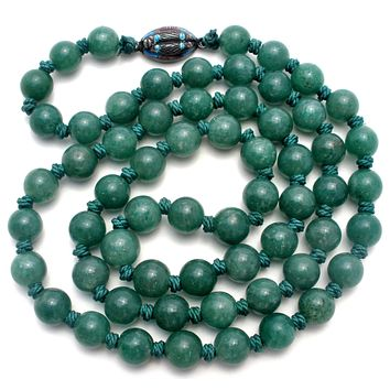 Hand Knotted Green Aventurine Bead Necklace 26""