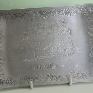 Vintage Pewter, Serving Tray, Norway, Oslo, Scandinavian, Floral Design, Kitchen Decor, Home Decor