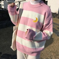 Harajuku Striped Moon Sweater