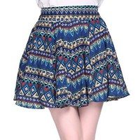 MapleClan Bohemian Tribal Aztec Print Pleasted Mini Skater Skirt
