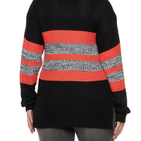 Plus Size Striped Sweater with Side Slits