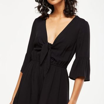 woven anissa 3/4 sleeve knot front romper