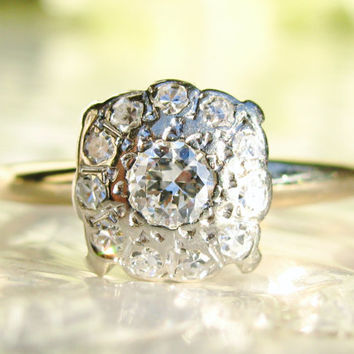 Vintage Engagement Ring Diamond Wedding Ring 0.37ctw Diamond Cluster Ring 14K Two Tone Gold Ring Bridal Jewelry!
