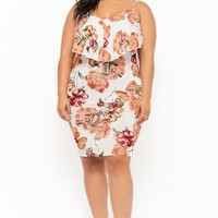Plus Size Layered Floral Cami Dress