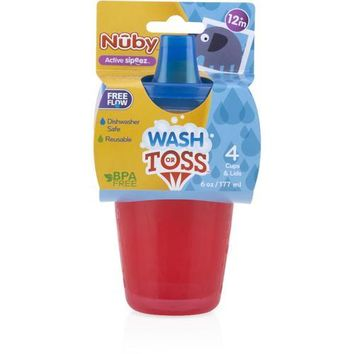 Case of [72] Nuby? Wash or Toss 7 oz. Sippy Cups with Spout Lid 4-Pack
