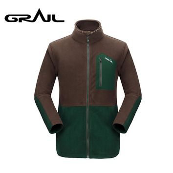 GRAIL Polartec Fleece Jacket Men Outdoor Thermal Fleece Coat Standing Collar Autumn Winter for Camping Hiking Trekking  M5007A