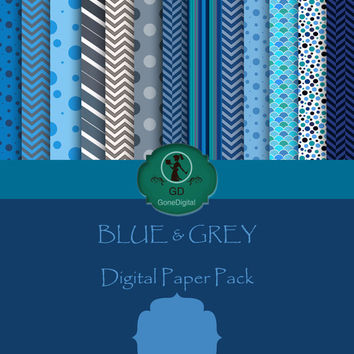 Blue & Grey Digital Paper Pack Printable Designs Instant Download Scrapbooking Collection - Pack of 13