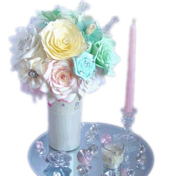 centerpieces pink bridal decor mint green wedding decor baby