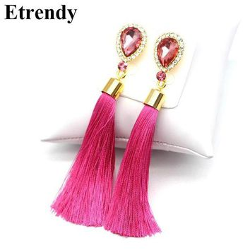 DCCKFV3 Crystal Water Drop Tassel Long Earrings For Women Fashion Jewelry Classic Red Black Blue Green White Hot Pink Fine Gifts
