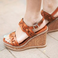 Chain Leather Strap Wedge Sandals