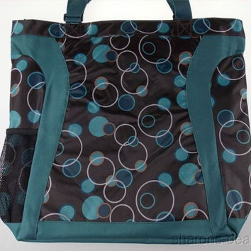 Everest Laptop Tote Bag Chic Design Shopping Pocket Sleeve Teal Black Shoulder