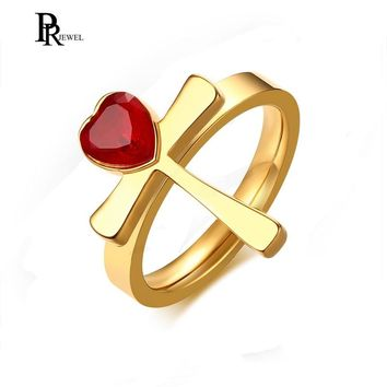Women's Stainless Steel Red Heart Rhinestone Ankh Cross Ring for Christian Jesus Lord Prayer Size 6 7 8