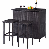 3 piece Rattan Wicker Bar Set Patio Outdoor Table & 2 Stools