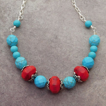 Red and Turquoise Necklace. Red Turquoise Boho Tribal Necklace. Silver Red Turquoise Necklace. Jewelry Necklace, Turquoise Jewelry, Collar