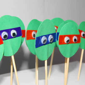 Teenage Mutant Ninja Turtle Cupcake Toppers - TMNT Birthday Decor - Set of 12