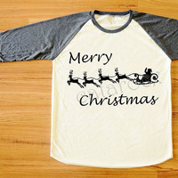 Merry Christmas T-Shirt Santa Shirt Reindeer Shirt Christmas Gift Shirt Long Sleeve Women Shirt Men Shirt Unisex Shirt Baseball Shirt S,M,L