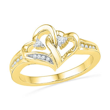 10kt Yellow Gold Womens Round Diamond Double Heart Love Ring 1/10 Cttw 101813