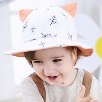 New Cat Ear Hat Flower Print Cotton Baby Kids Girls Floral Bowknot Cap Sun Bucket Hats Leaves Printed Baby Hat Sweet Baby Caps
