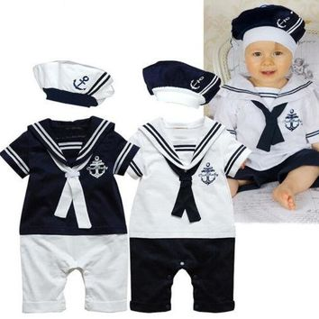 Hot Baby Boy Girl Clothes Sailor Costume Suit Toddler Bebes Romper Hat 0-24M Infant Kids Playsuit